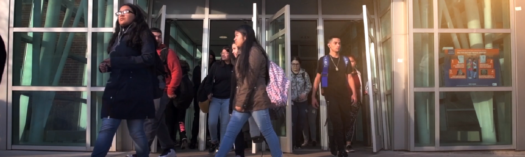Freshmen walk out of their high school building