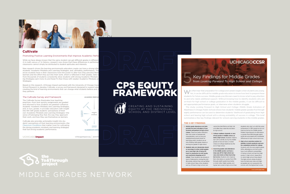 Screenshots of the covers of the UChicago Consortium briefs included in the collection and the CPS equity framework.