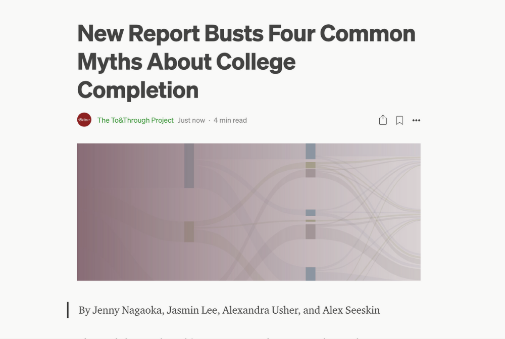 Screenshot of the blog post on Medium titled Four Common Myths About College Completion