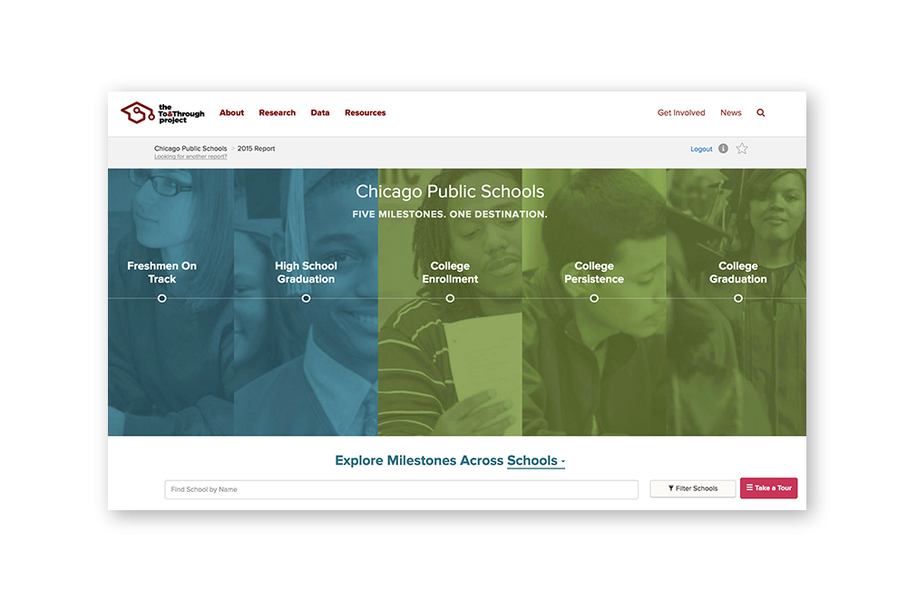 The To&Through Online Tool offers never-before accessible data on how Chicago Public Schools students are progressing on their paths to and through high school and college
